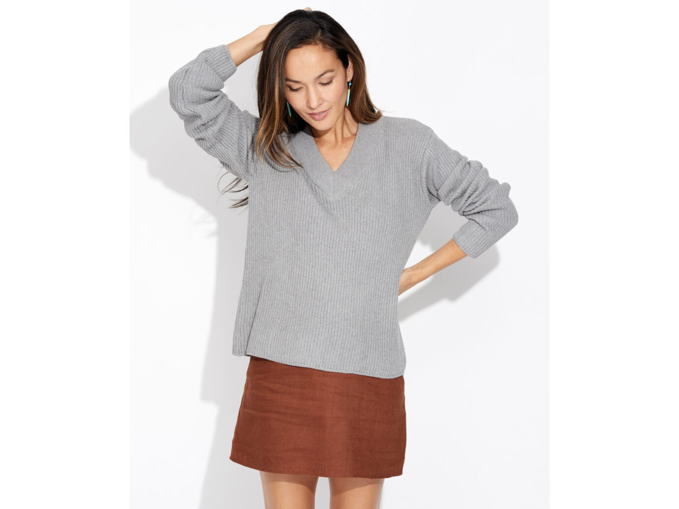 Pact V-Neck Cable Sweater