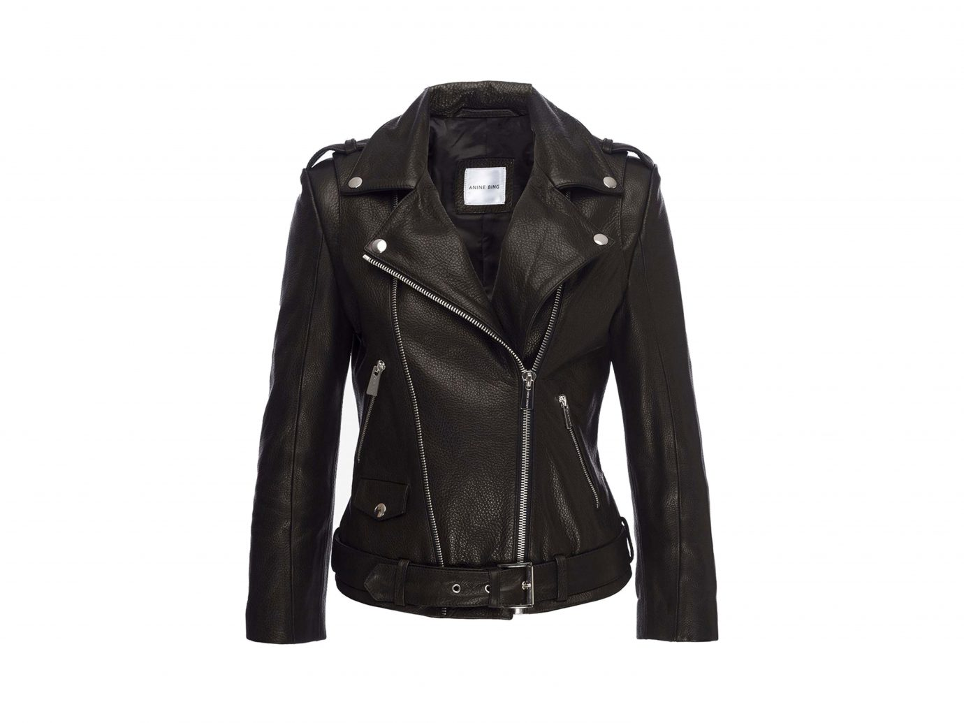 Anine Bing Cropped Leather Moto Jacket