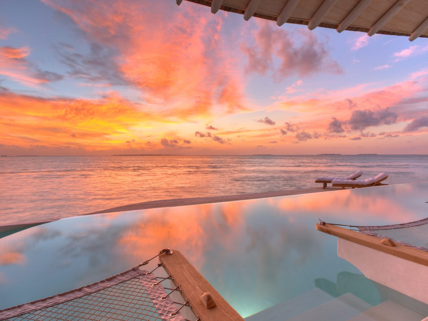 Sunset view at Soneva Jani Resort
