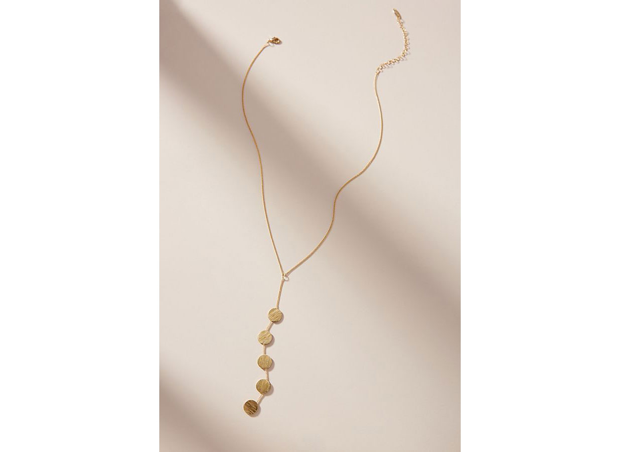Serefina Golden Disc Lariat Necklace