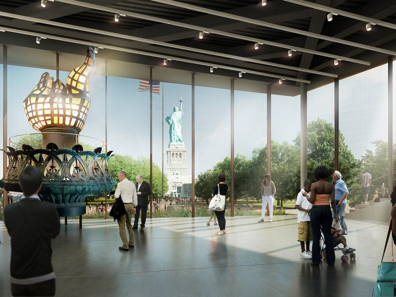 rendering of interior of Statue of Liberty Museum with view of statue