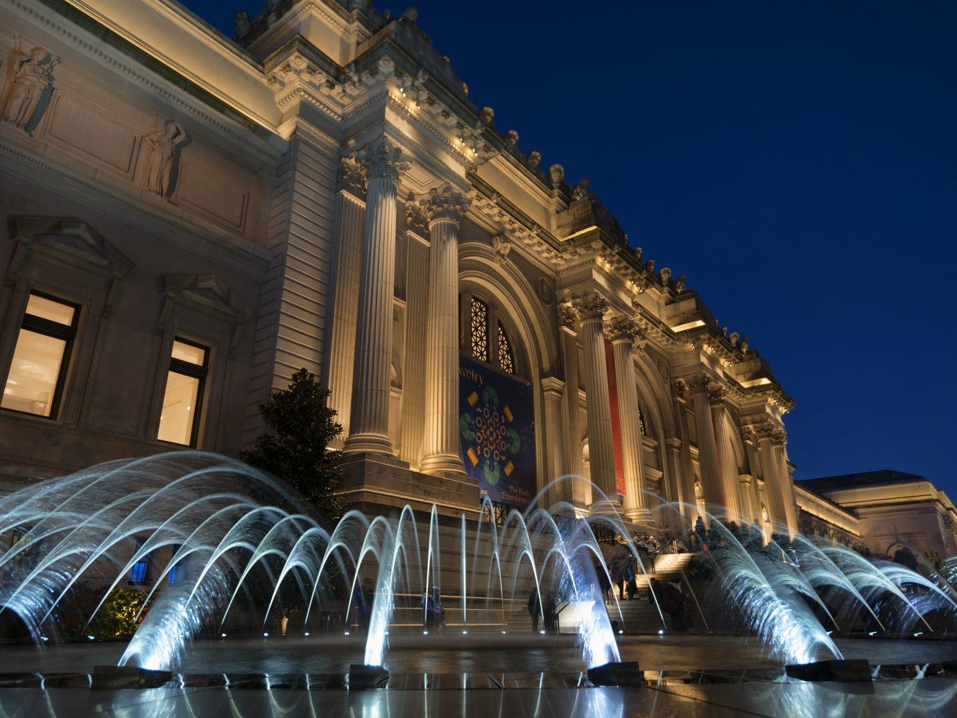 New York, NY, USA - November 11, 2018. Fountain at the Metropolitan Museum of Art in New York City.