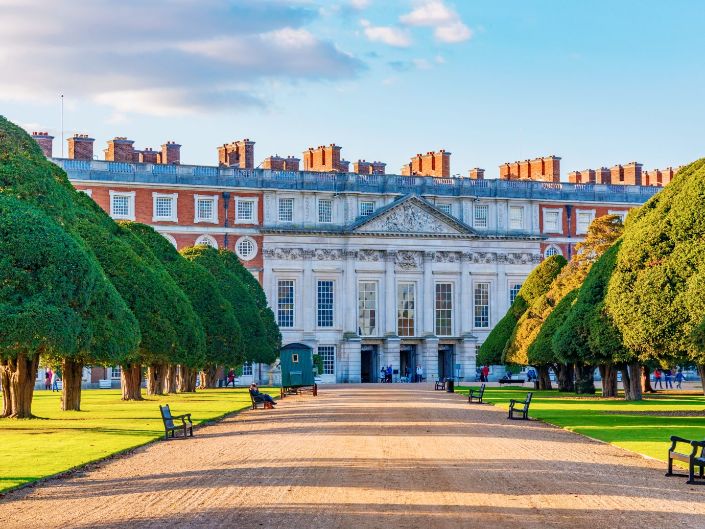 London: Scenery and architecture of Hampton Court Palace, a famous and historic landmark on October 28, 2017 in London