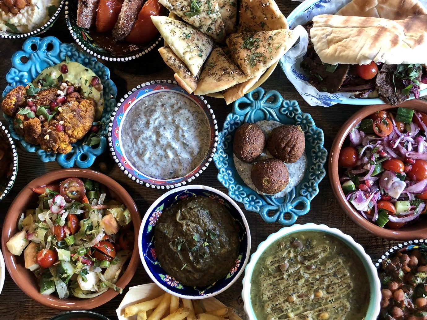 numerous delicious vegan dishes from Koocha Mezze Bar