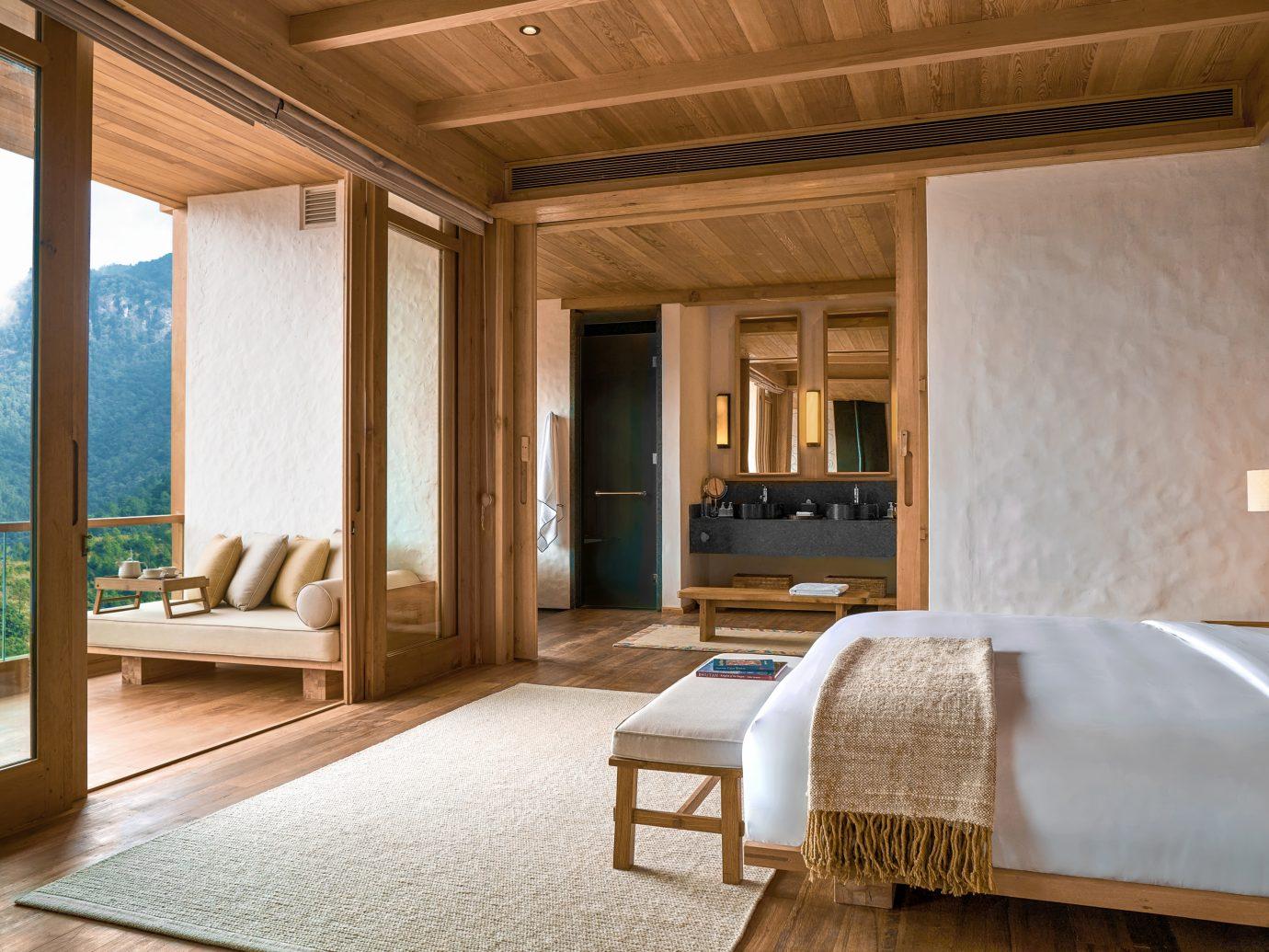 Bedroom at Six Senses Bhutan