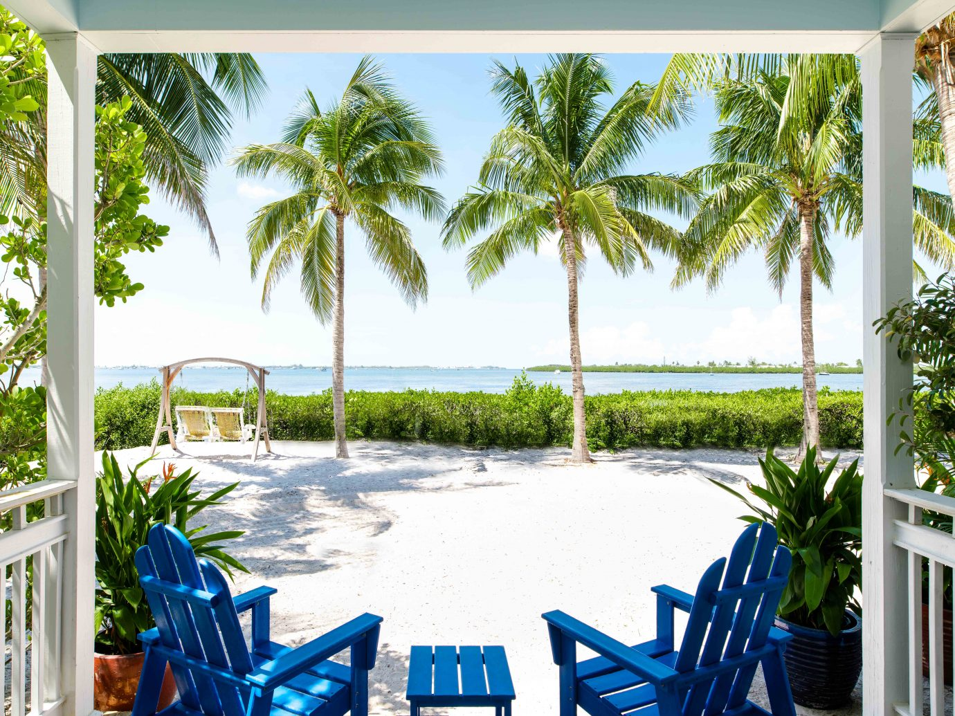 View of beach from room at Parrot Key