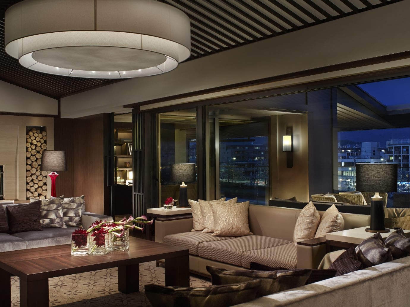 living room in suite at night time