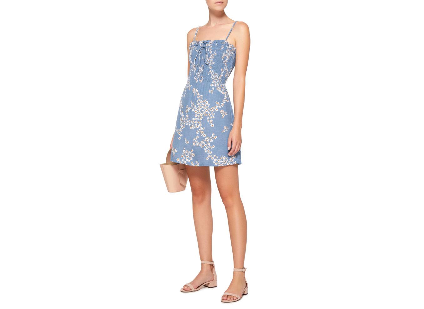 Faithfull The Brand Marni Smocked Voile Mini Dress