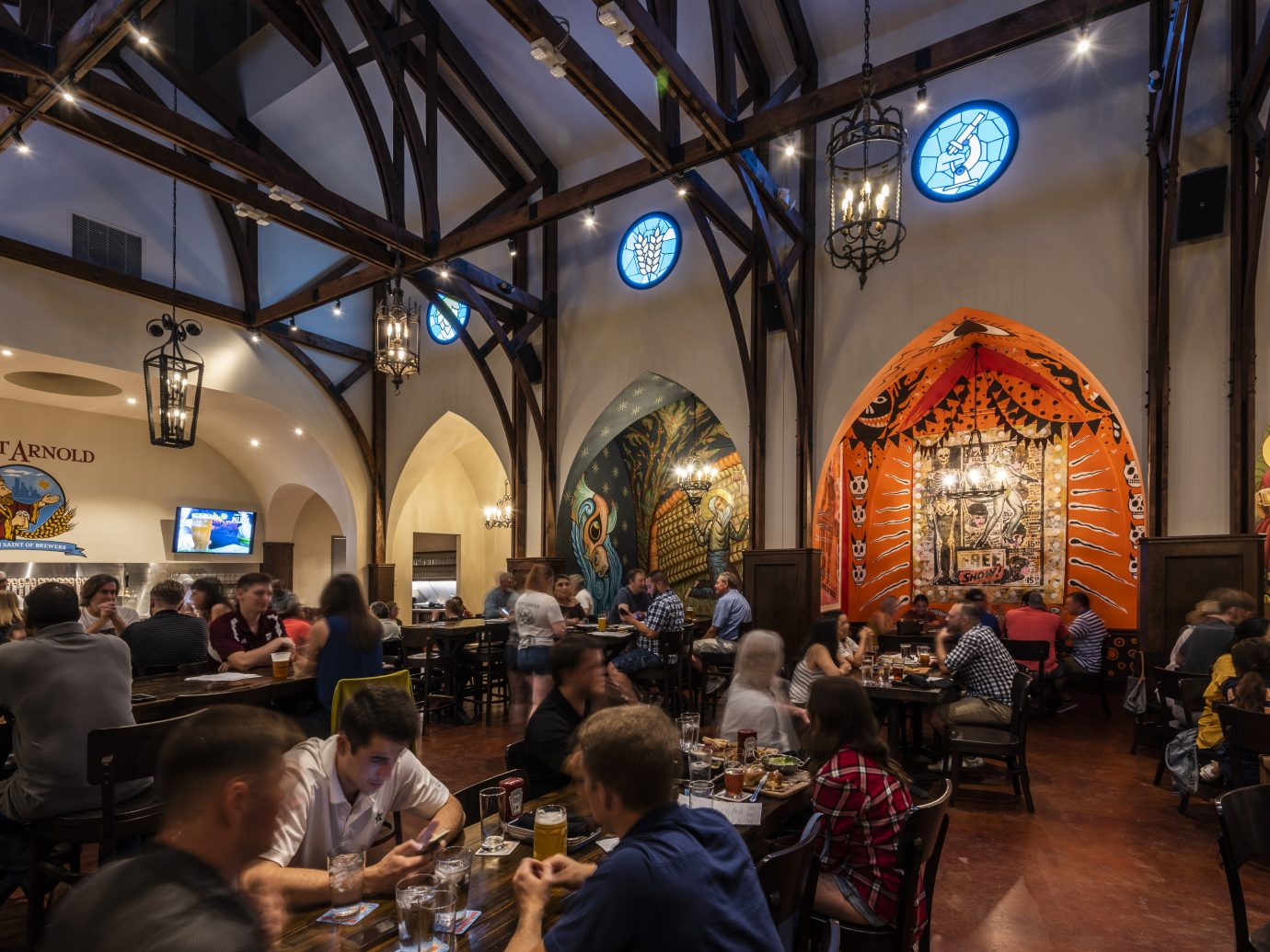 Interior view of Saint Arnold Brewery in Houston, TX