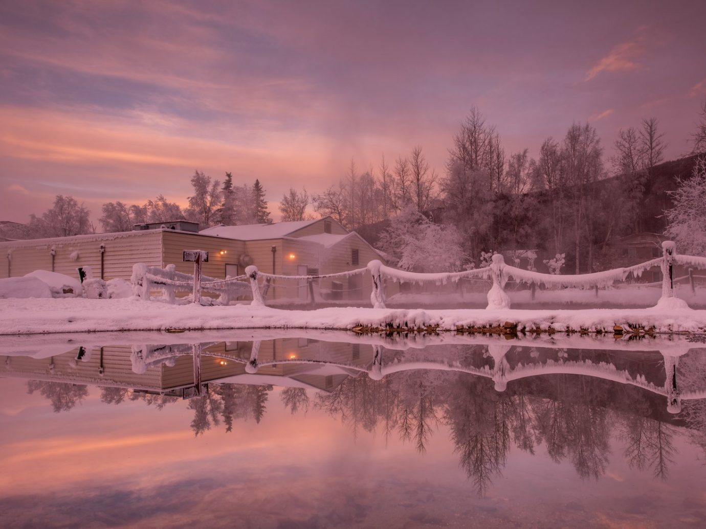 Chena Hot Springs with a pink sunset