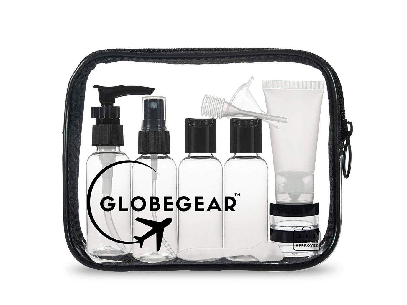 For carry-on: Travel Bottles & TSA-Approved Toiletry Bag