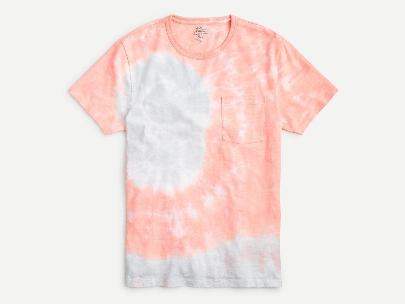 J.Crew Slub cotton crewneck T-shirt in tie-dyed coral swirl