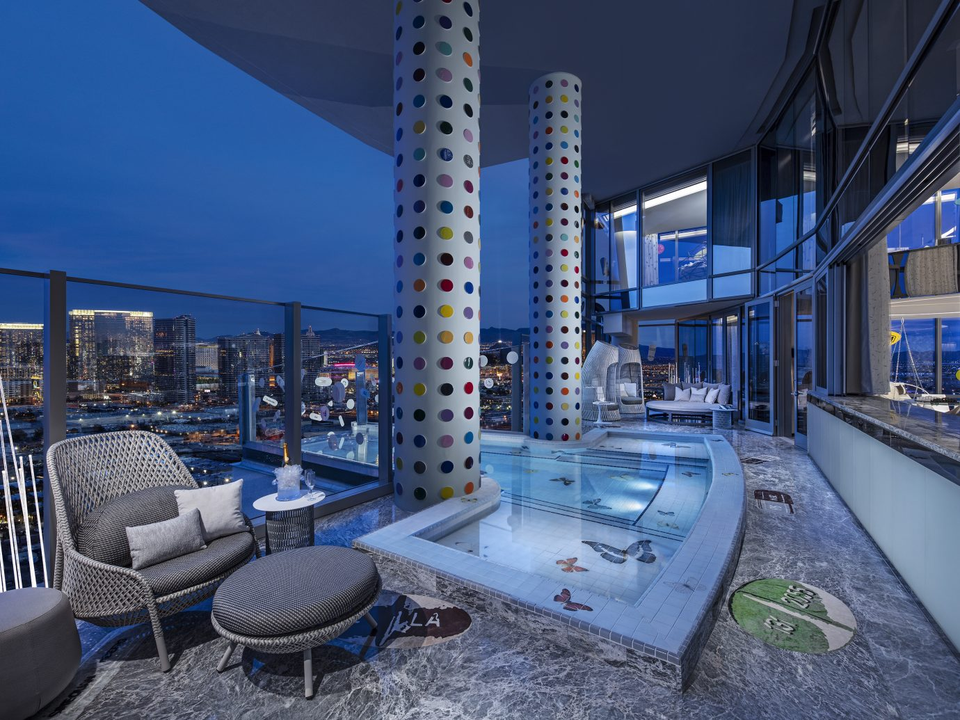 balcony and bool at the Damien Hirst designed Empathy Suite, Palms Casino Resort Las Vegas