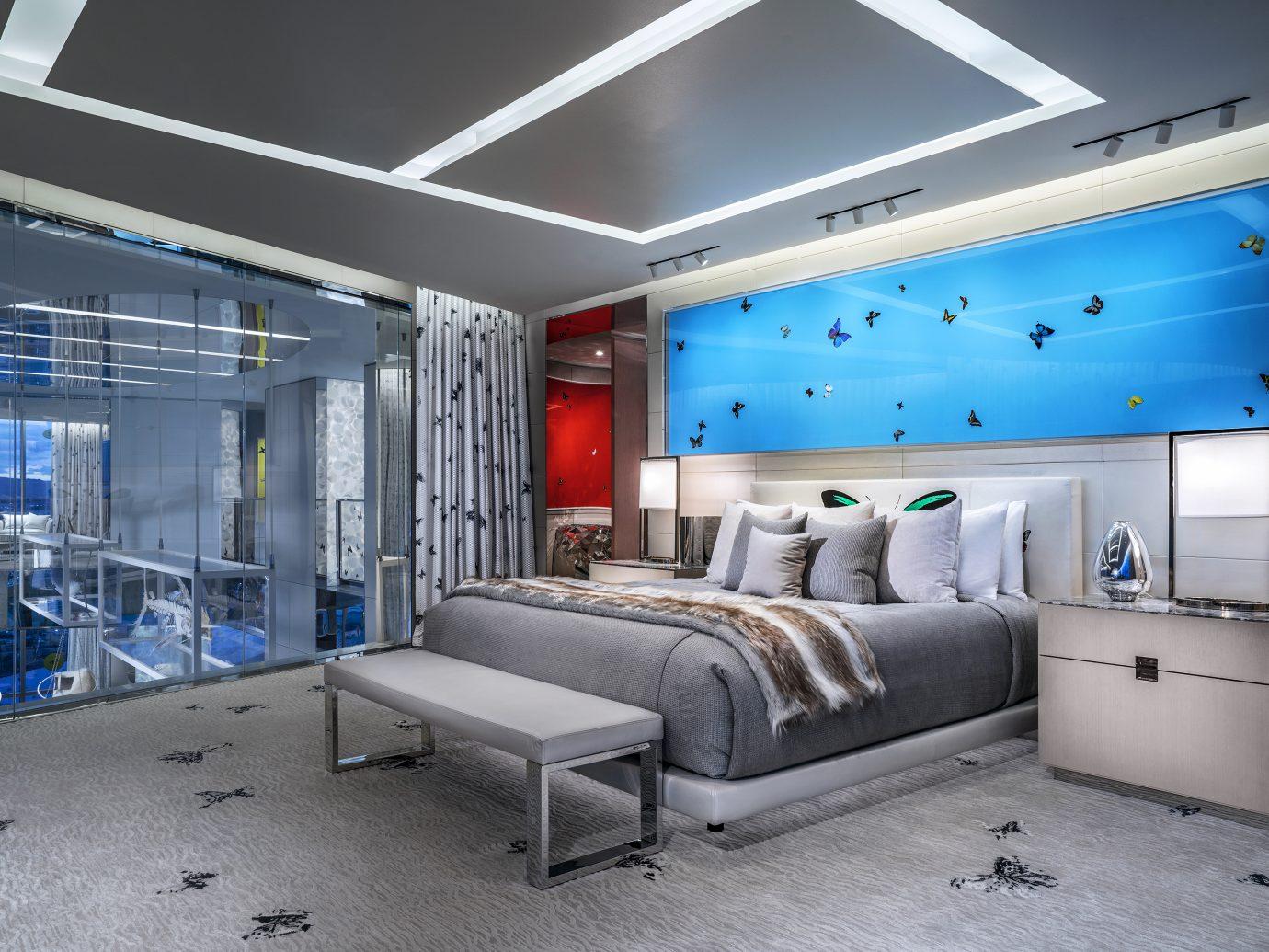bedroom at the Damien Hirst designed Empathy Suite, Palms Casino Resort Las Vegas