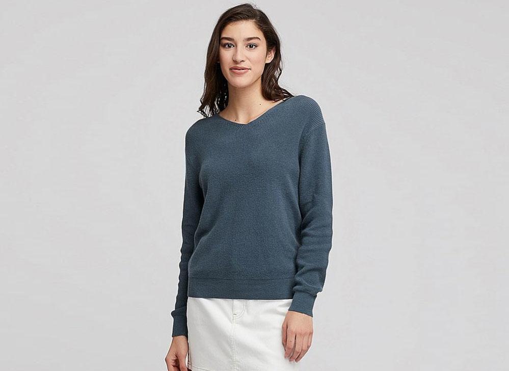Uniqlo Cotton Cashmere V-Neck Sweater