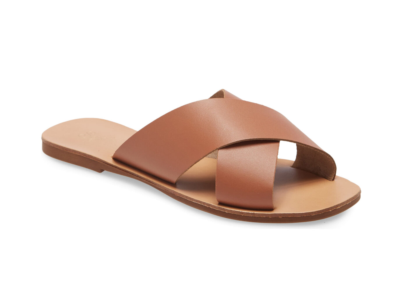 Seychelles Total Relaxation Slide Sandals in Cognac Leather
