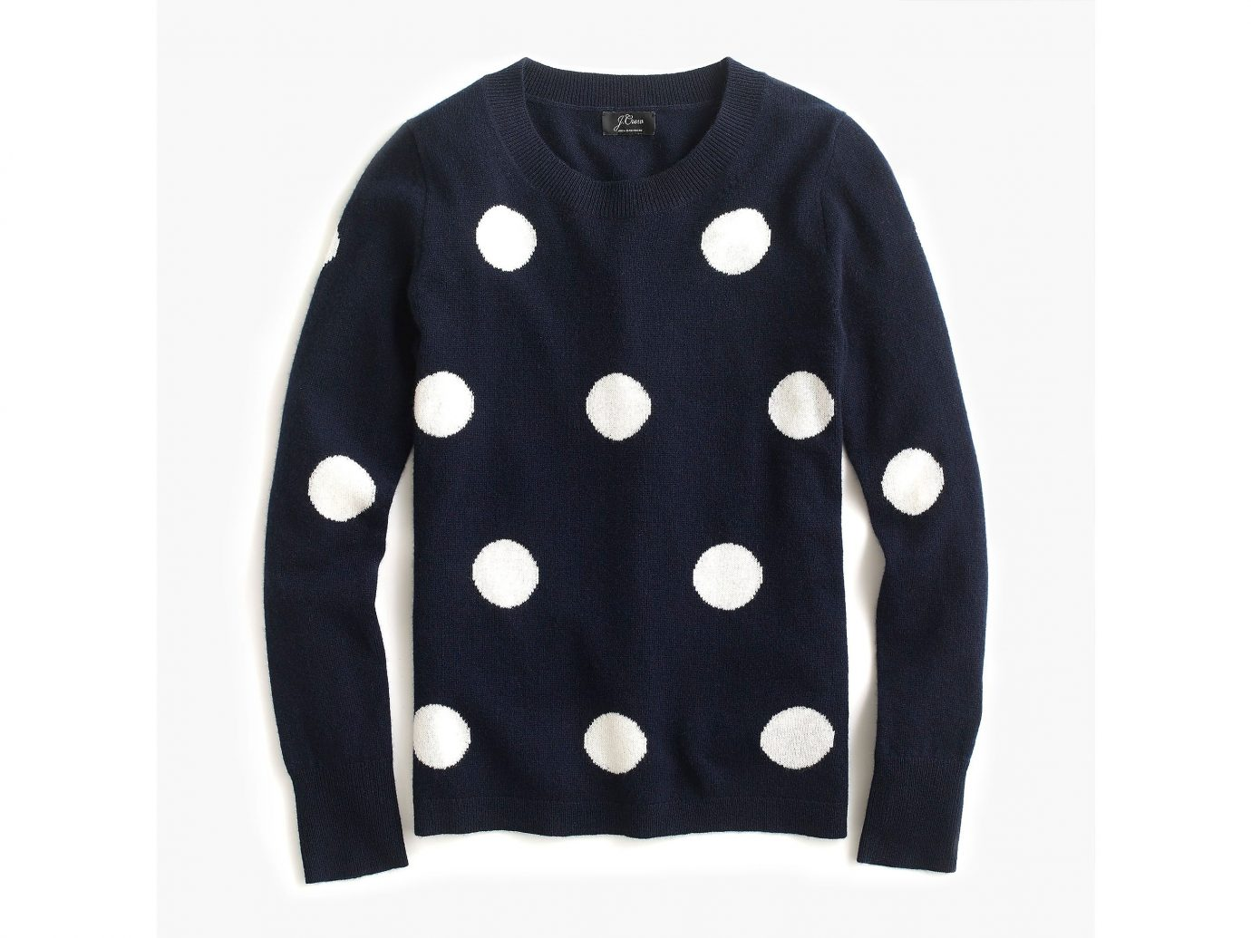 J Crew Long-sleeve everyday cashmere crewneck sweater in polka dot