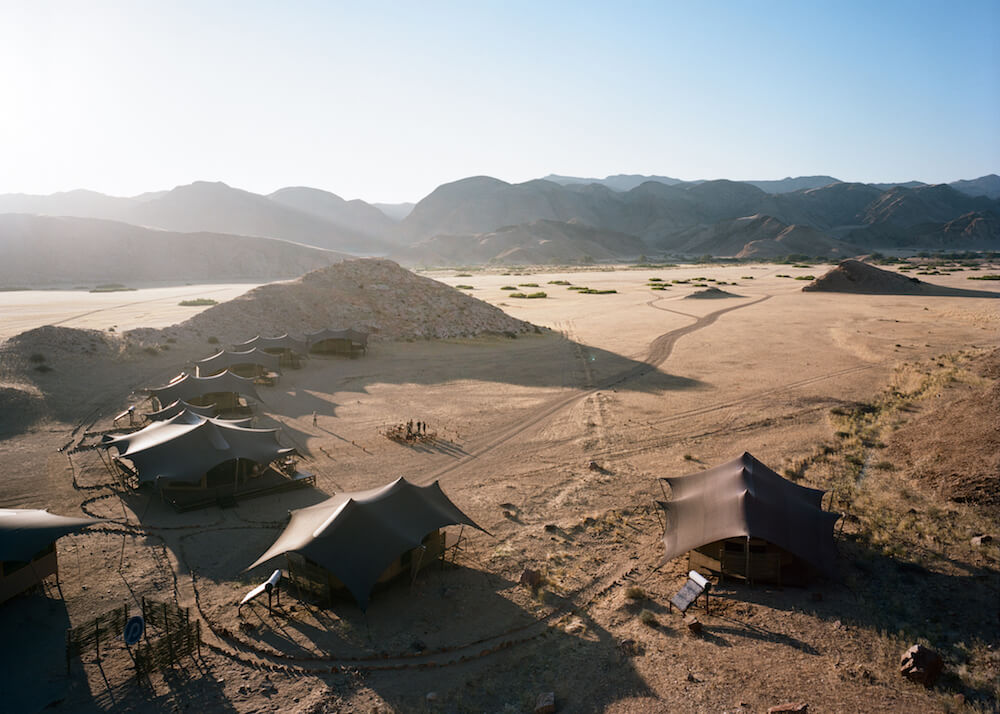 Aerial view of Hoanib Valley camp in Namibia