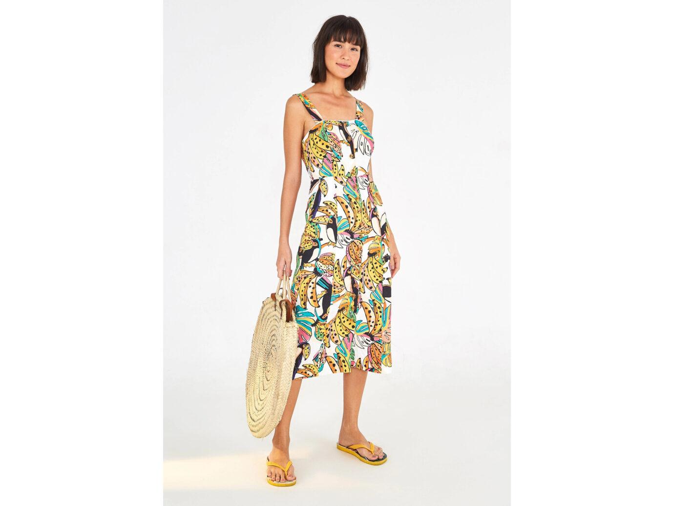 Farm Rio Crazy Tucanos Linen Dress
