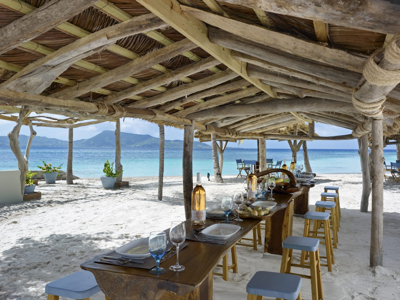 Outdoor dining at Petit St Vincent