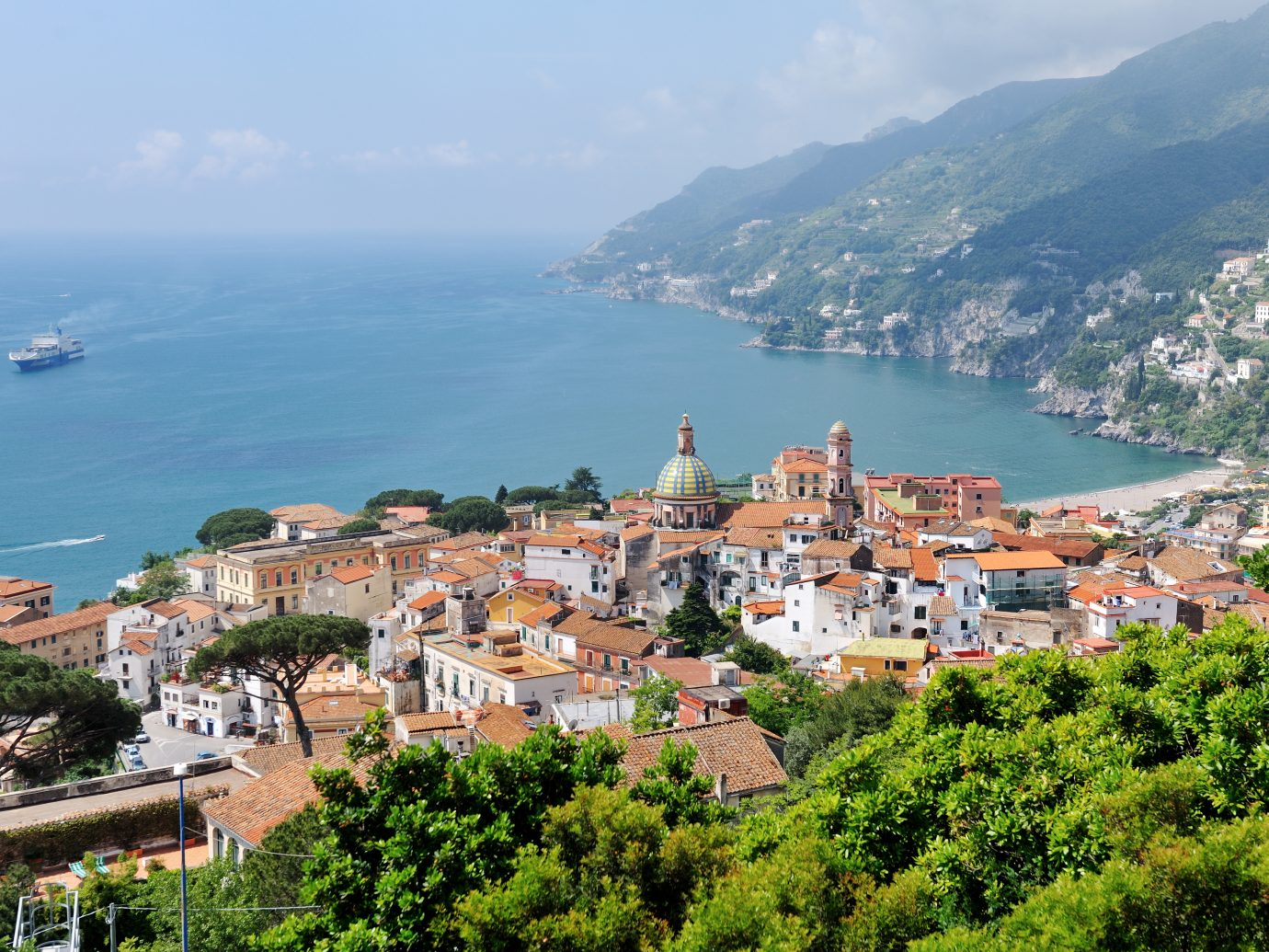 Panoramic view of Vietri sul Mare, the first town on the Amalfi Coast