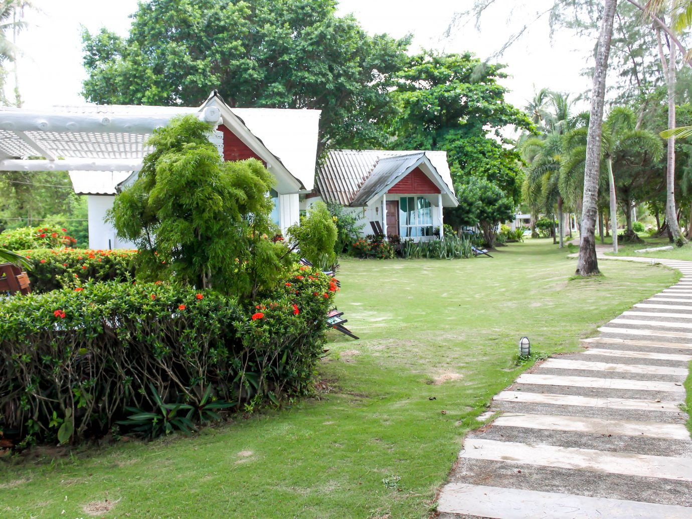 View of white single Bungalows in thailand. Koh Mak island