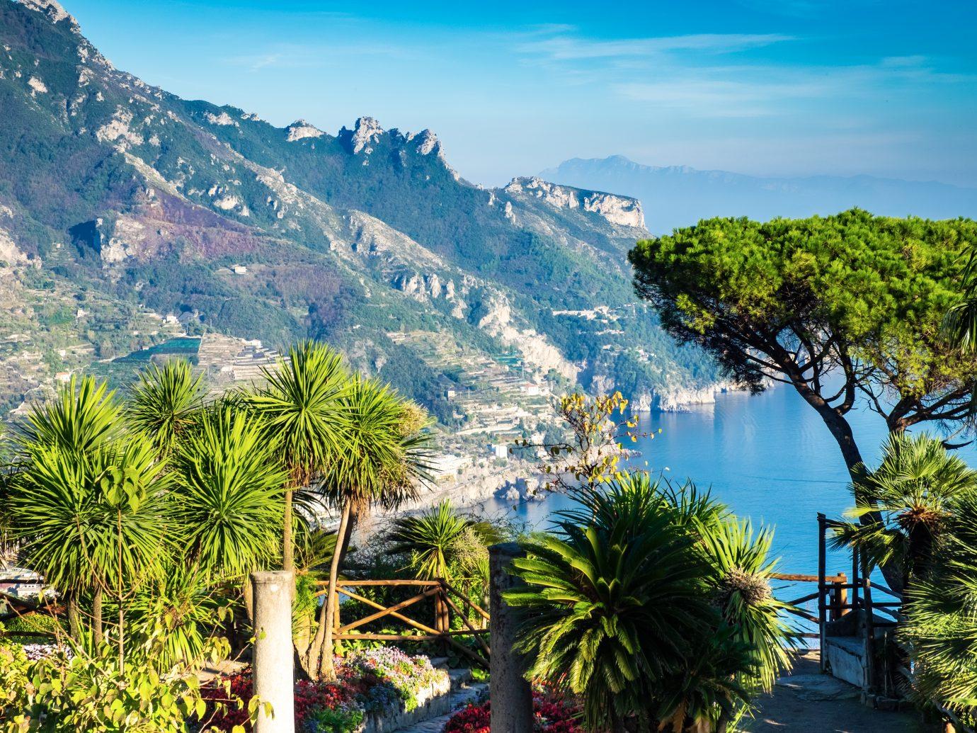 Romantic walkway and ornamental garden with colorful flowers, Villa Rufolo, Ravello, Amalfi coast, Italy, Europe