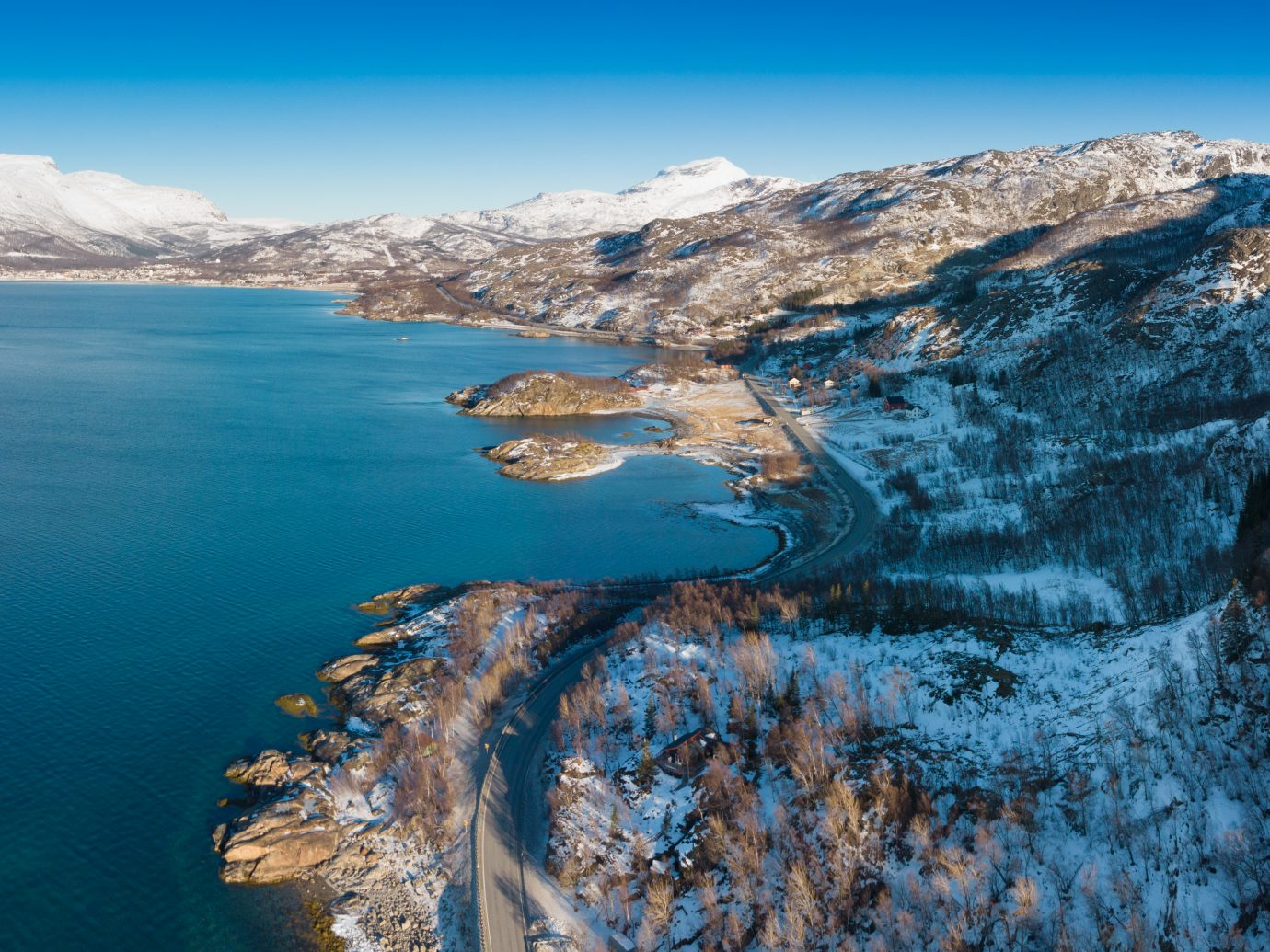 Aerial sunny winter view of Lapland