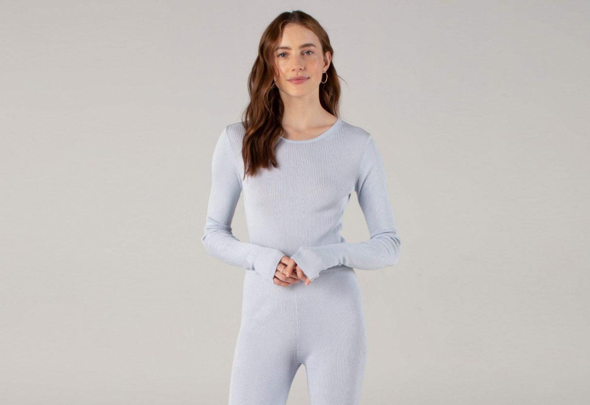 Long Sleeve Ribbed Crop Top Powder Blue