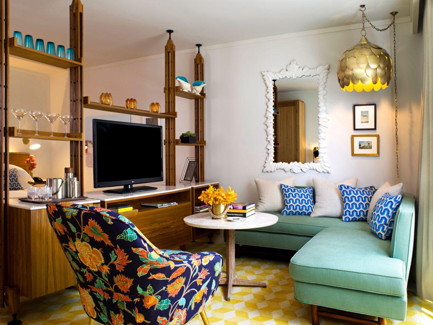 Living room at The Confidante Miami, FL