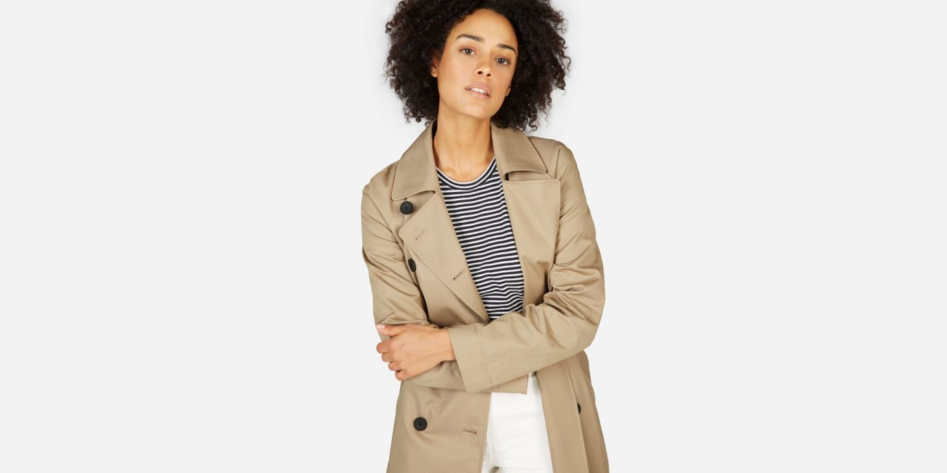 Favorite Everlane Buys, Stylish woman in a trench coat