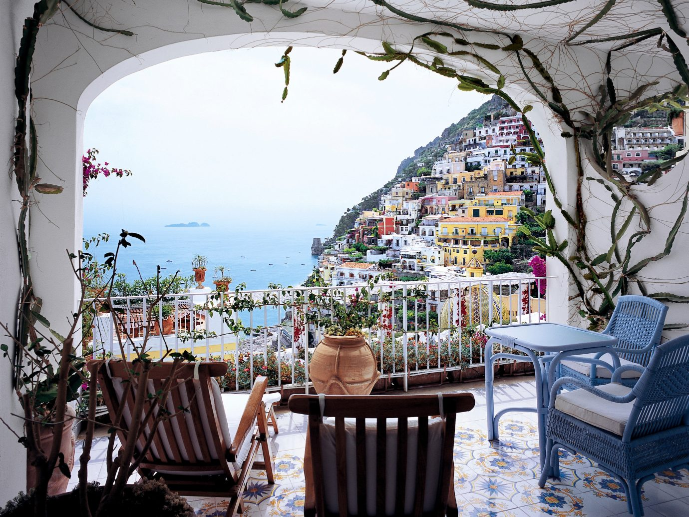 View of city from Le Sirenuse Positano, Italy