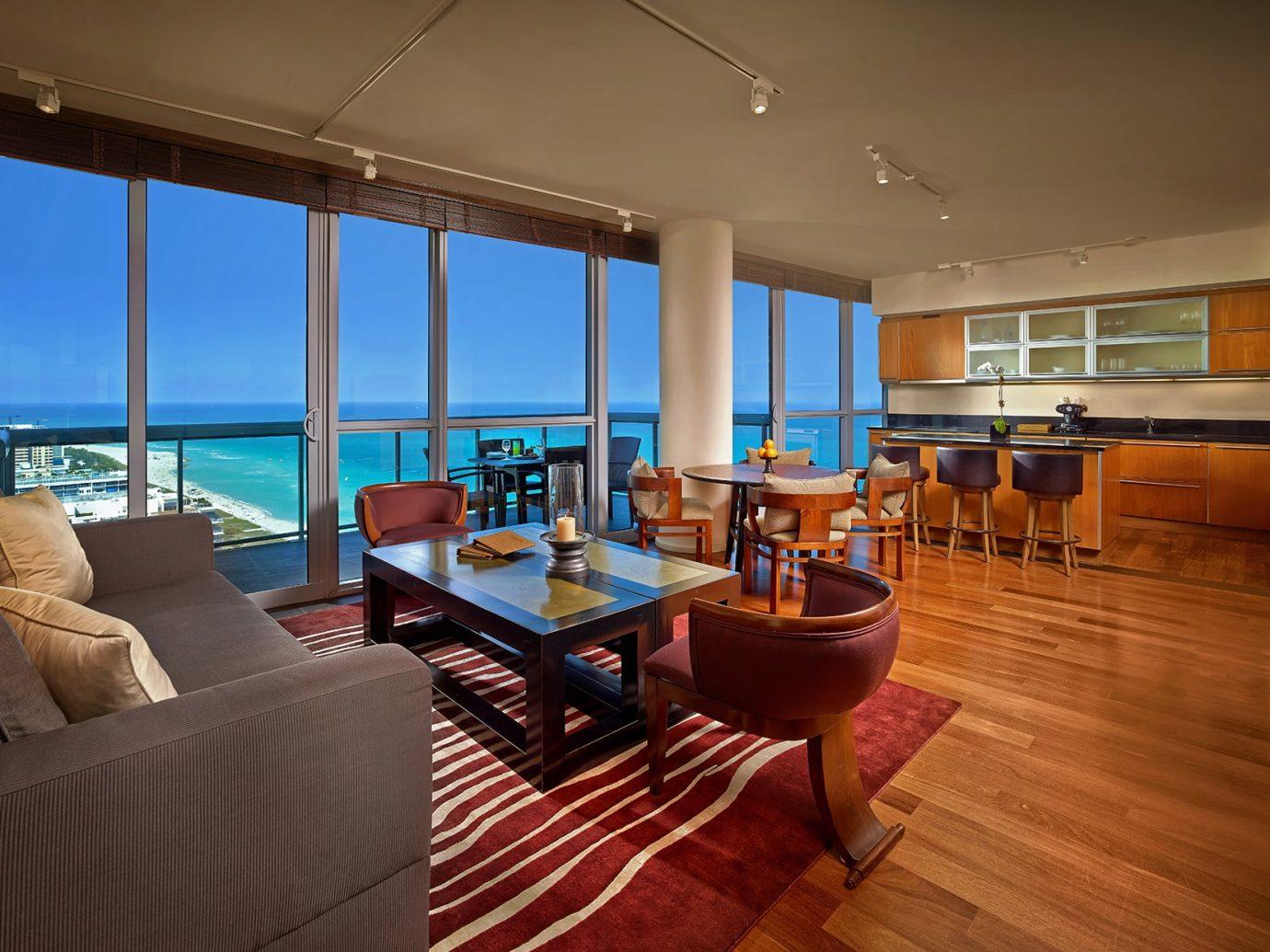 Living room and beach view at the Setai Miami Beach