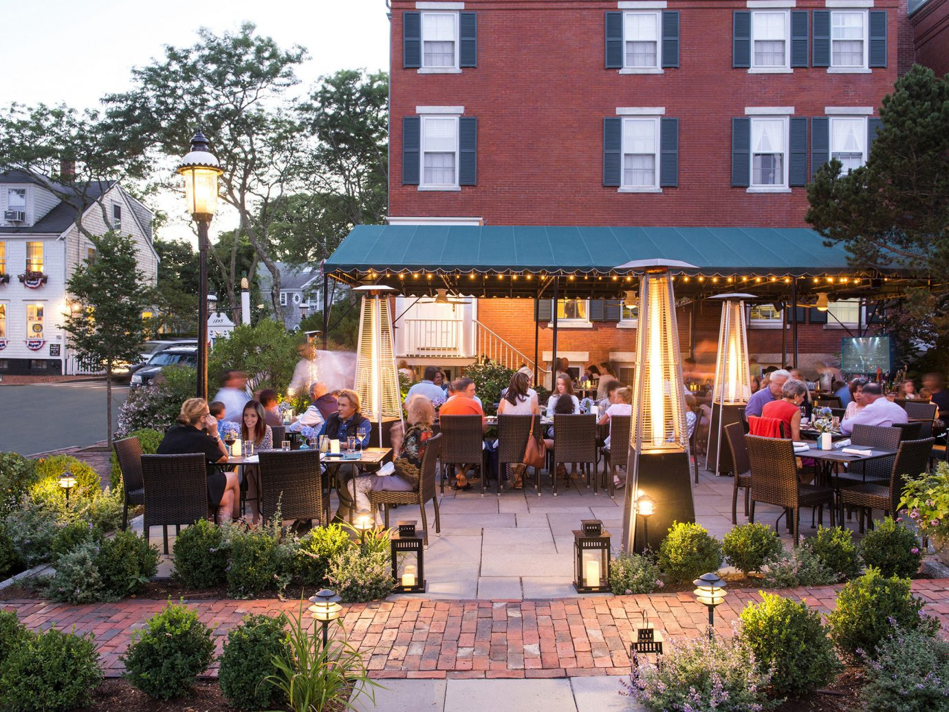 Outdoor dining at Jared Coffin House in Nantucket