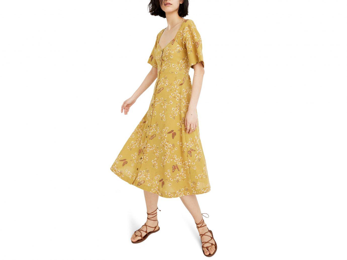Madewell Windowbox Floral Flutter Sleeve Midi Dress