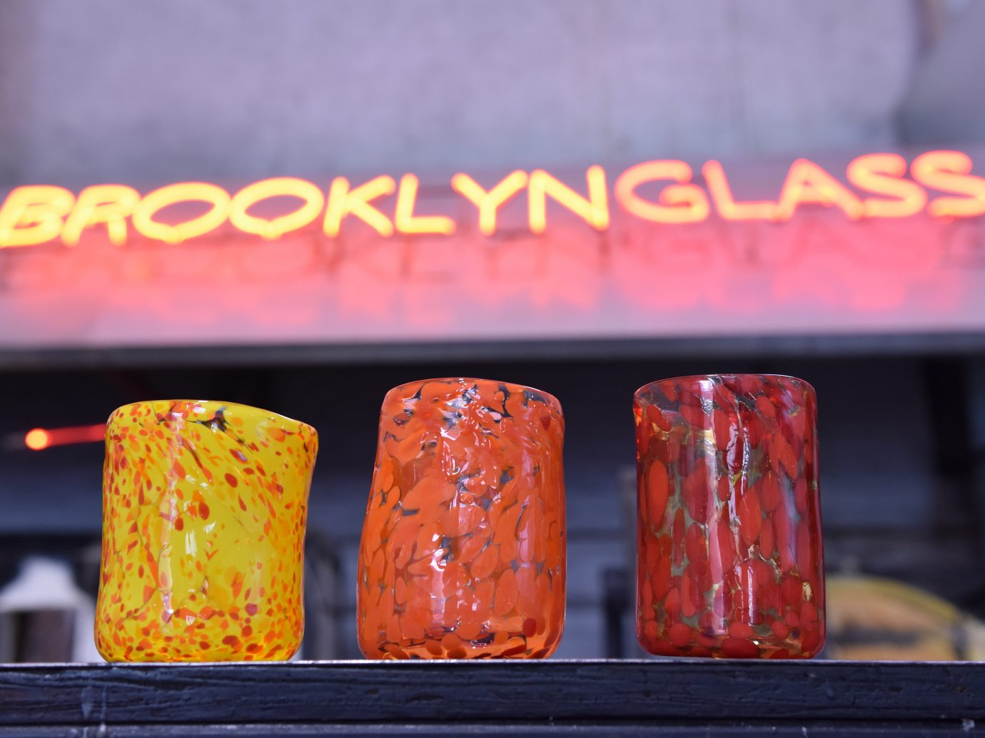 Glasses and sign at Brooklyn Glass
