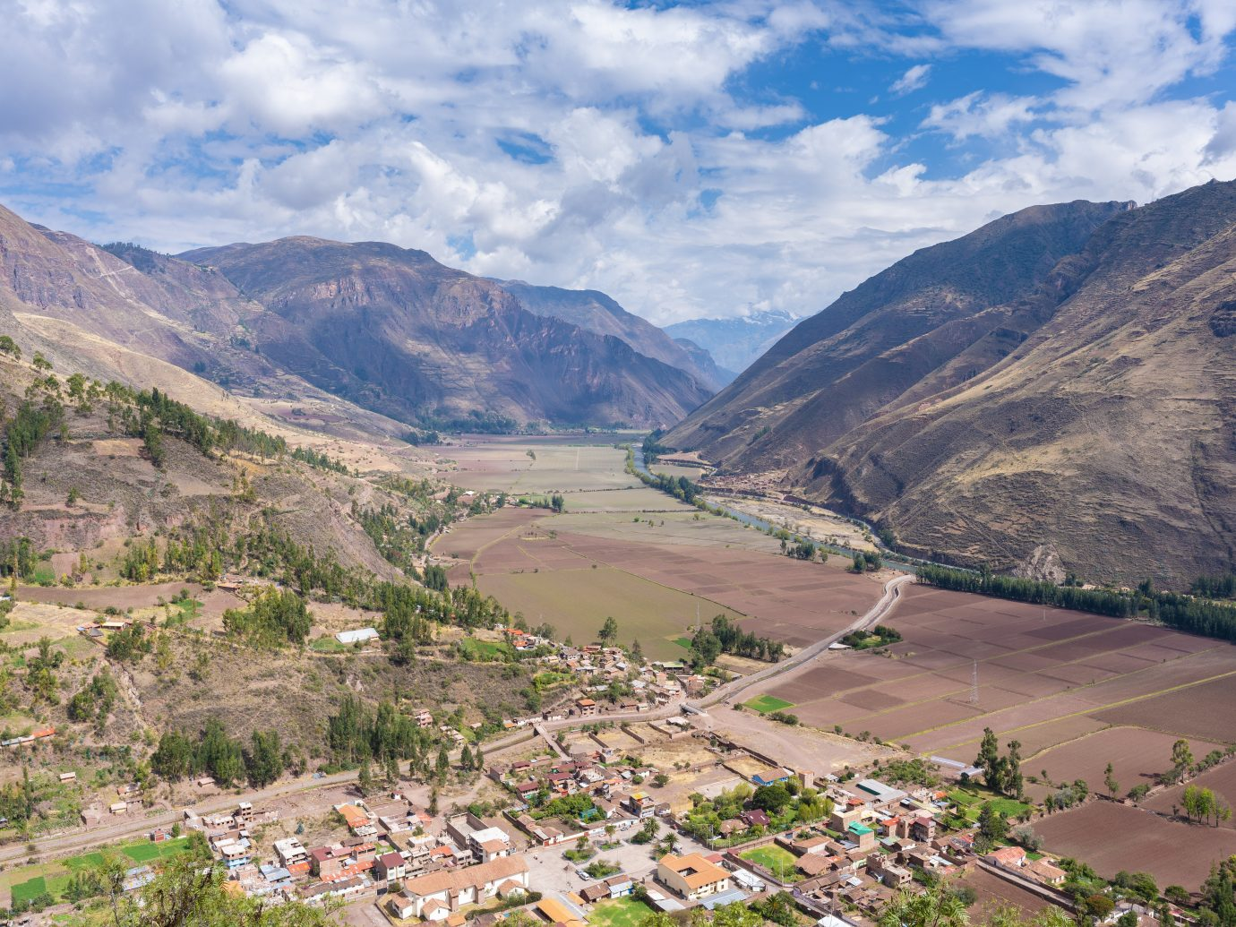 Aerial view of the Sacred Valley in Peru