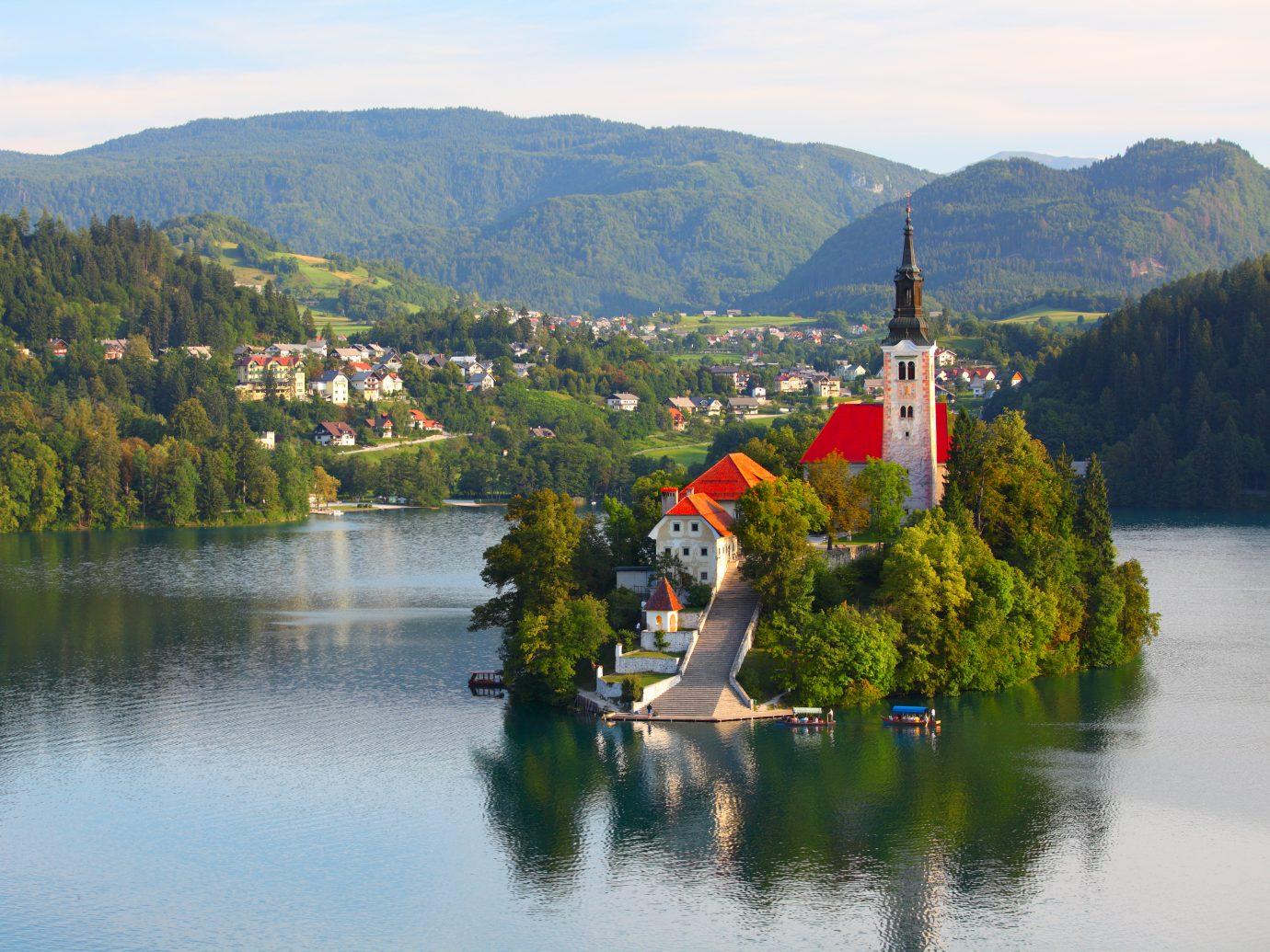 Santa Maria Church catholic church situated on an island on Bled lake