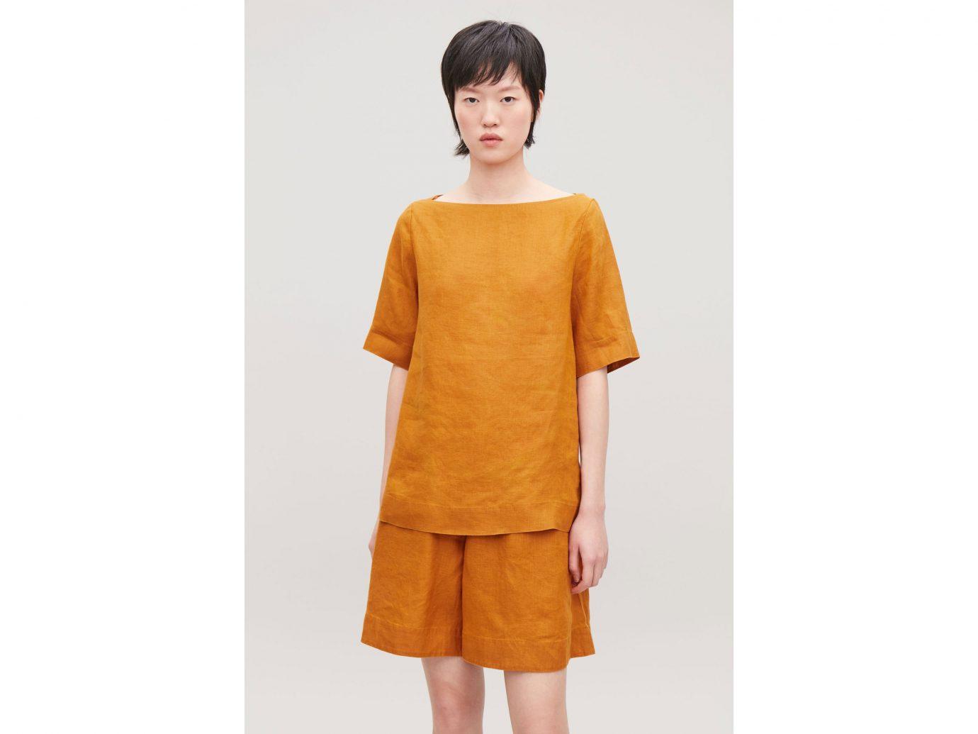 COS boat-neck linen top in burnt orange
