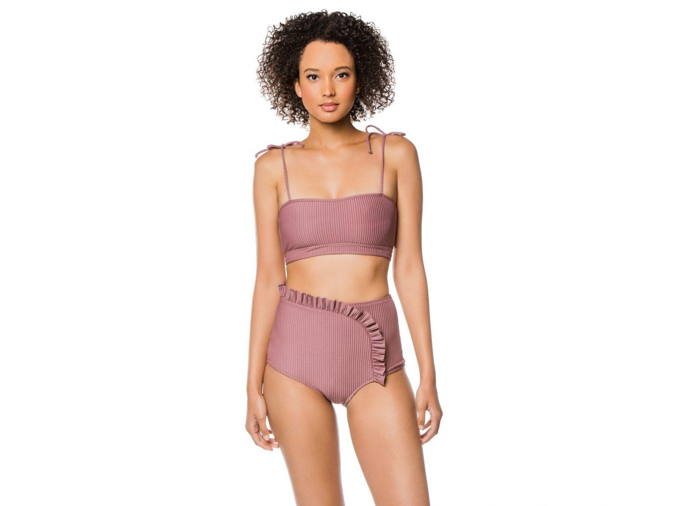 Made by Dawn Mauve Ribbed Bandeau Bikini Top and High Waist Bikini Bottom