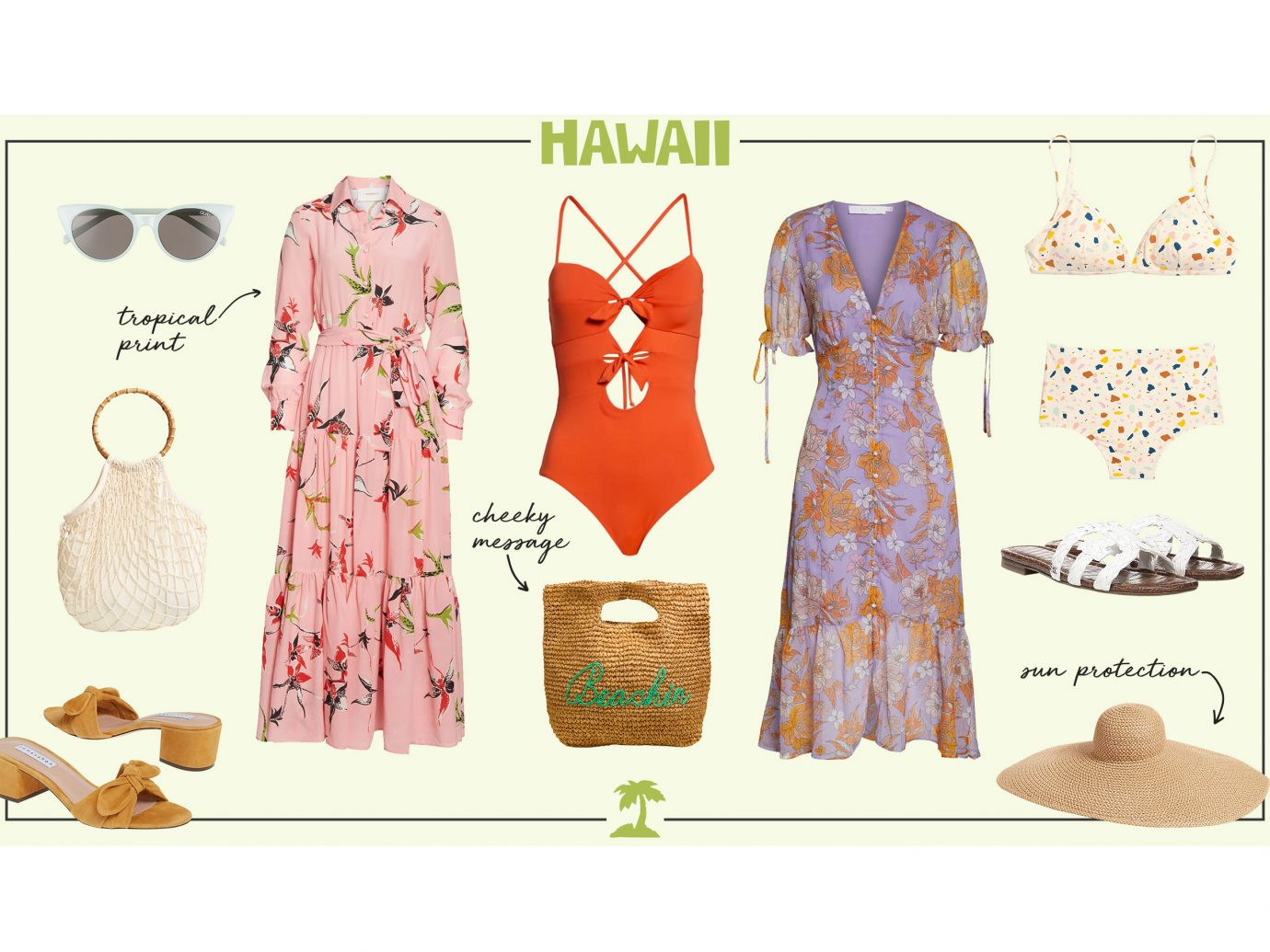 What to wear in Hawaii collage - women