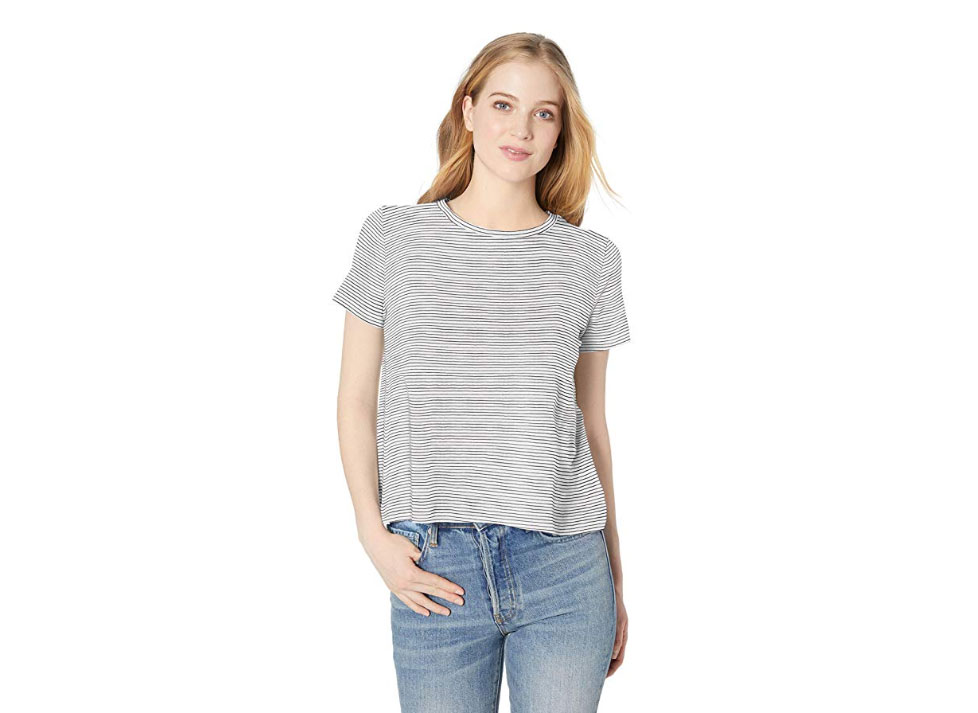 Amazon Brand - Daily Ritual Women's Lightweight Lived-In Cotton Short-Sleeve Swing T-Shirt