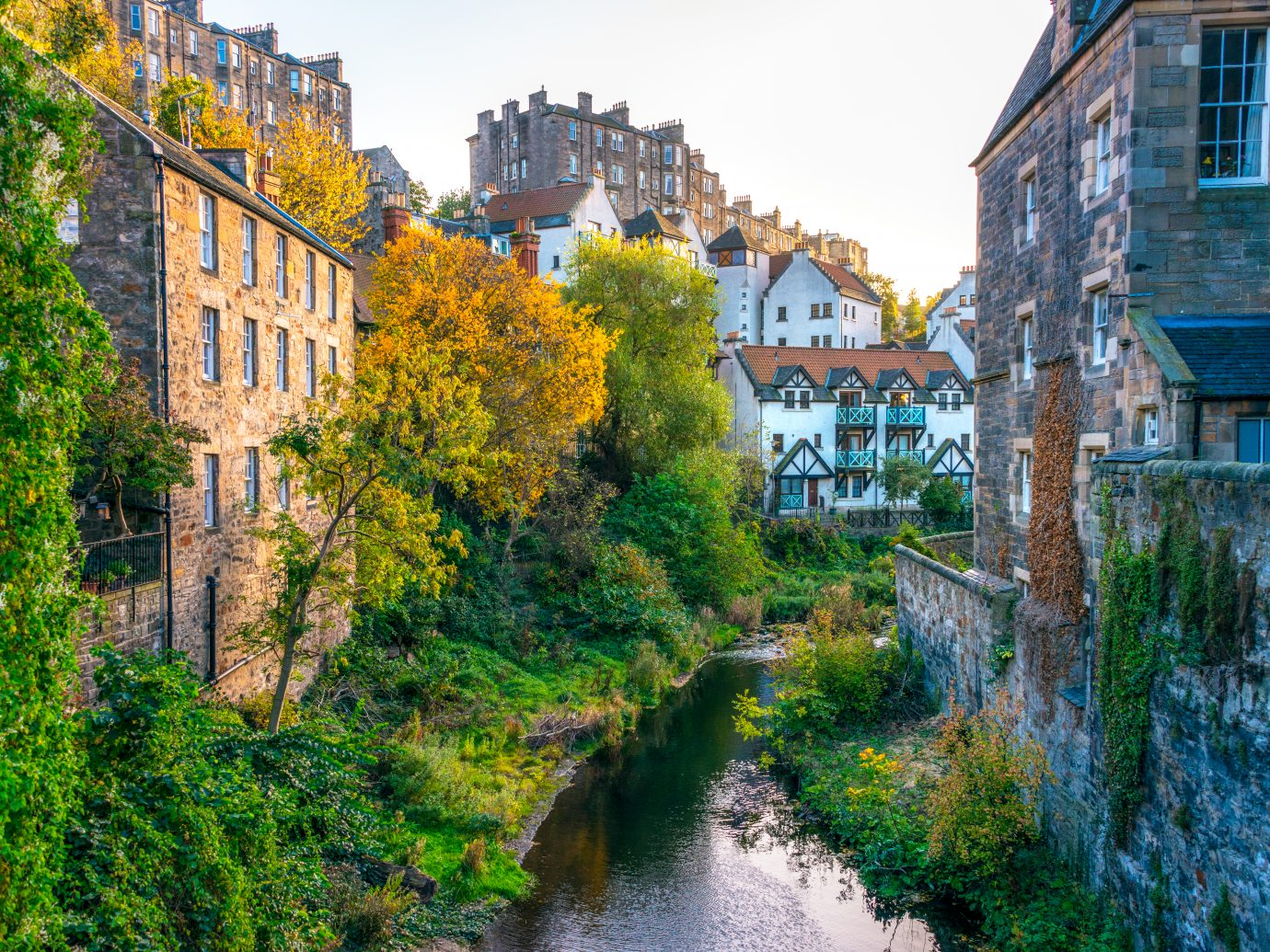 Buildings around the Water of Leith, in Edinburgh's Dean Village.