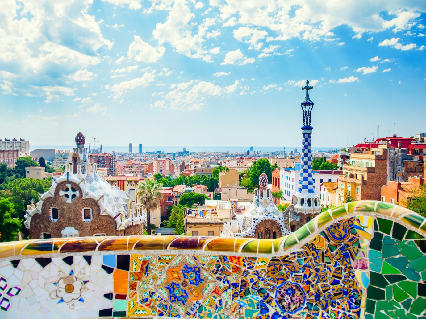 Panoramic view of Park Guell in Barcelona, Spain