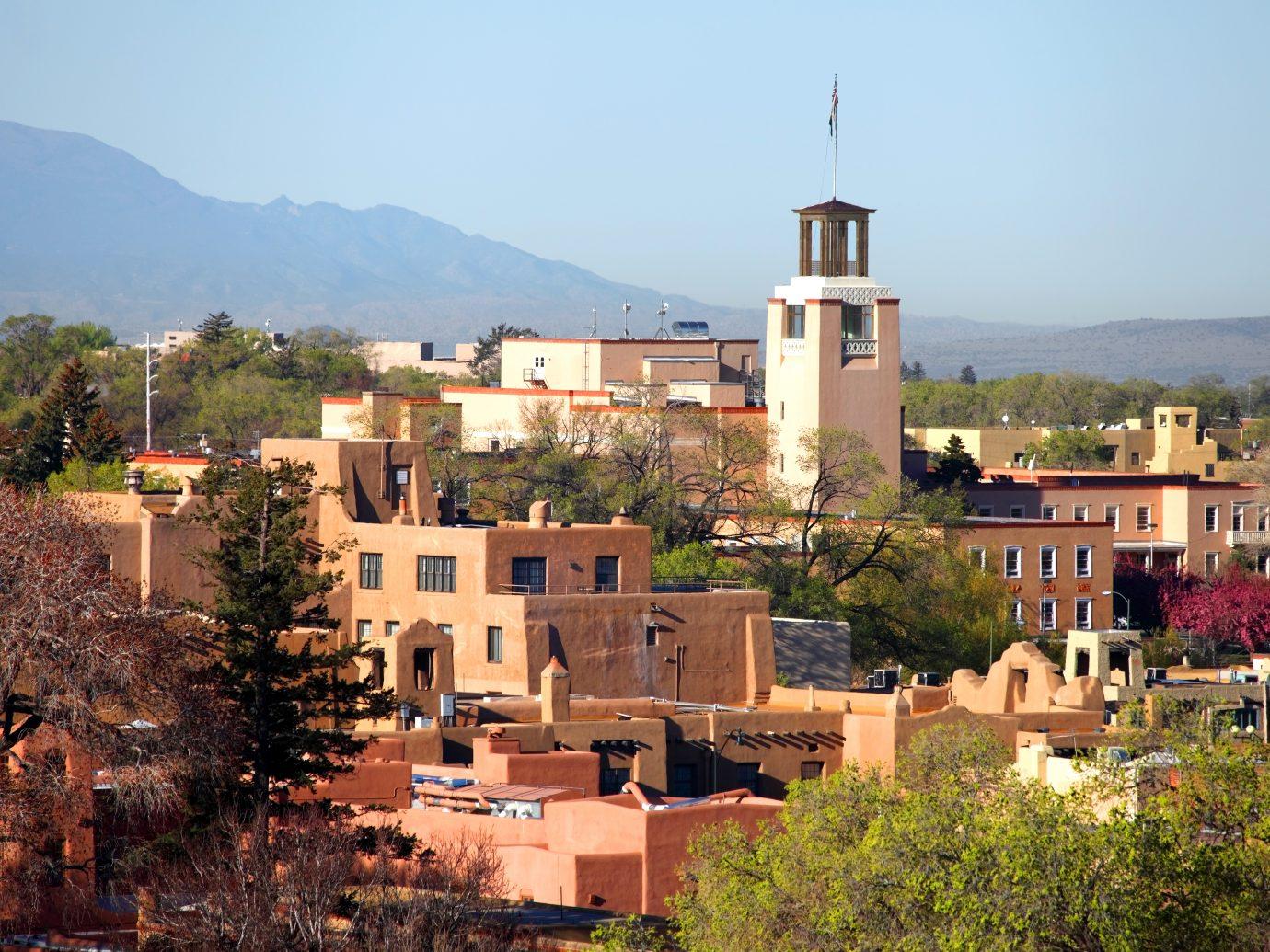 Downtown Santa Fe, New Mexico at dusk.