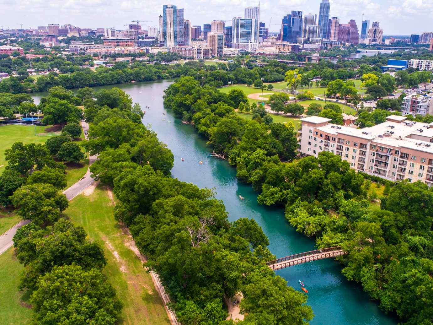 Aerial view of Austin Texas and barton springs pool