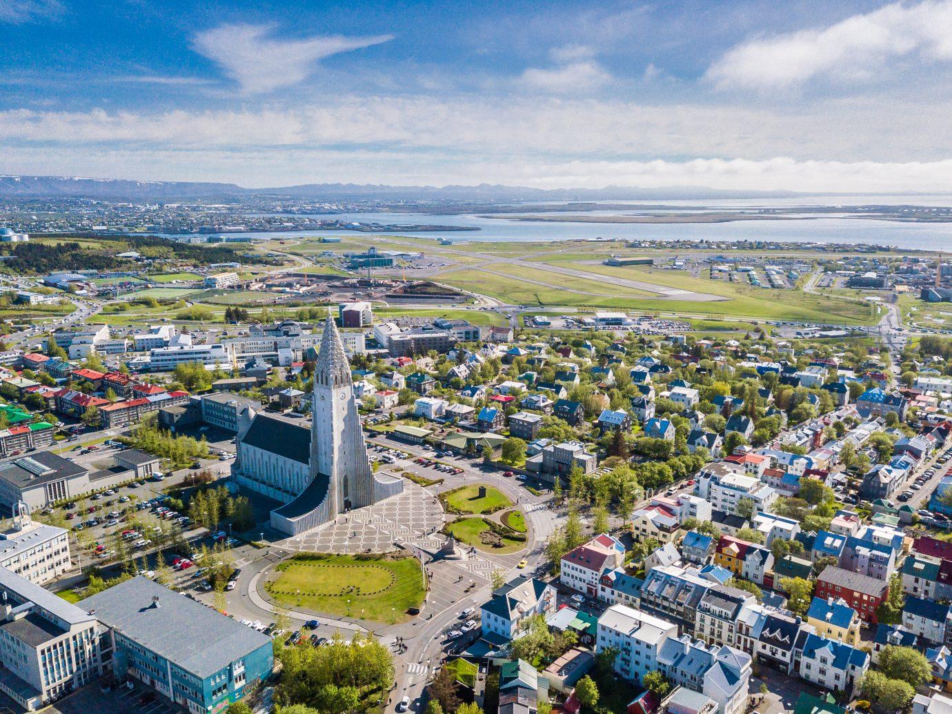 Reykjavik Iceland city scape frop the top with Hallgrimskirkja church.