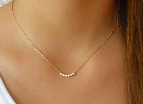 Handmade Dainty Gold Filled Necklace With Silver Beads