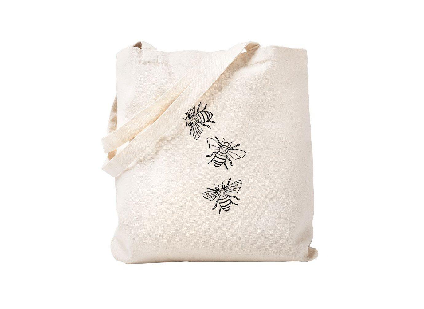 CafePress Honey Bees Natural Canvas Tote Bag, Cloth Shopping Bag on Amazon