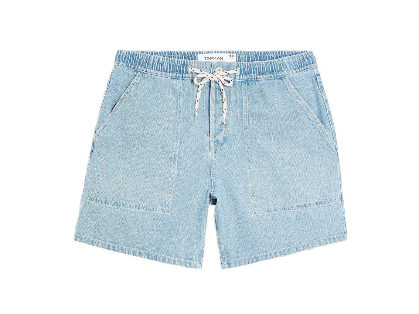 Topman Light Wash Drawcord Shorts